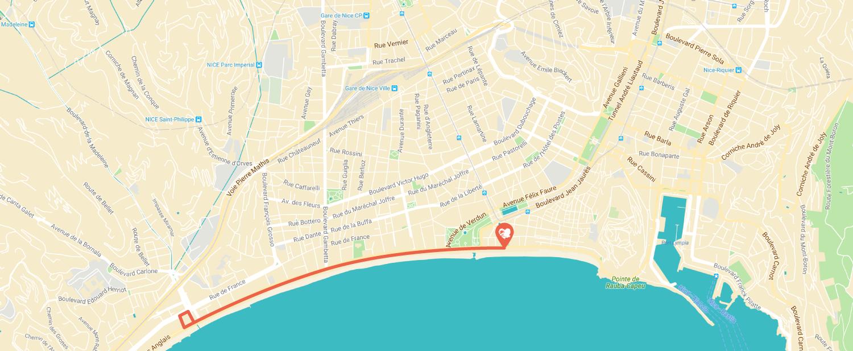 Parcours Prom du Coeur Promenade des anglais de Nice